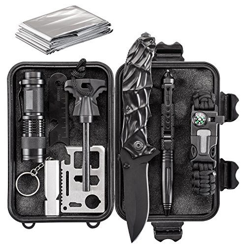 Emergency Survival Kit 10 in 1 – Outdoor Survival Gear – Folding Knife, Paracord Bracelet, Emergency Blanket, Fire Starter, Flashlight, Whistle, Tactical Pen etc – Camping, Hiking, Survival Trips