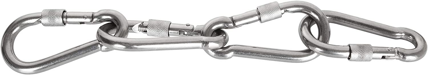 304 Premium Stainless Steel Heavy Duty Carabiner Clips EXPERY 5PCS Stainless Steel Spring Snap Hook Locking Carabiner