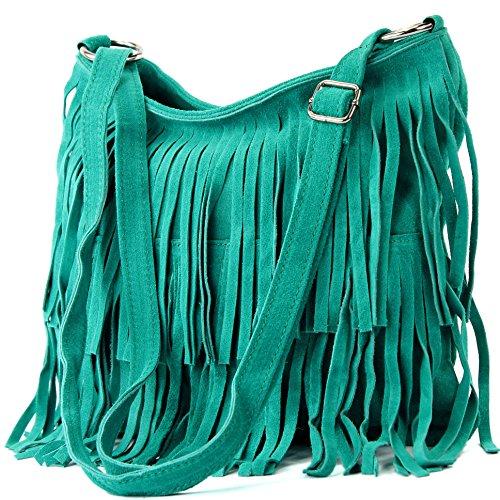 de Frans bolso las cuero de 1 Bolso Türkis de gamuza señoras Ital T125 bolso del bolsa x7qUwCw