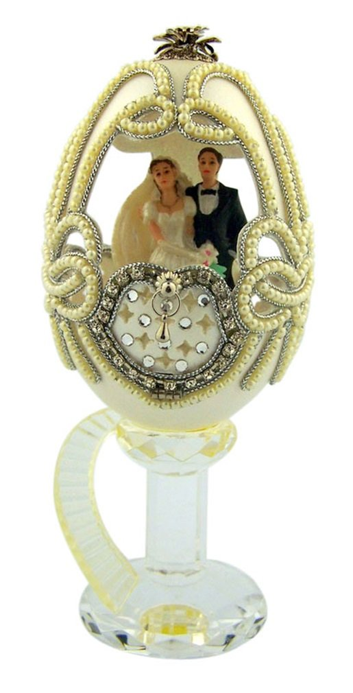 Magical Wedding Groom and Bride in Genuine Goose Egg Cake Topper by Authentic Egg Collection