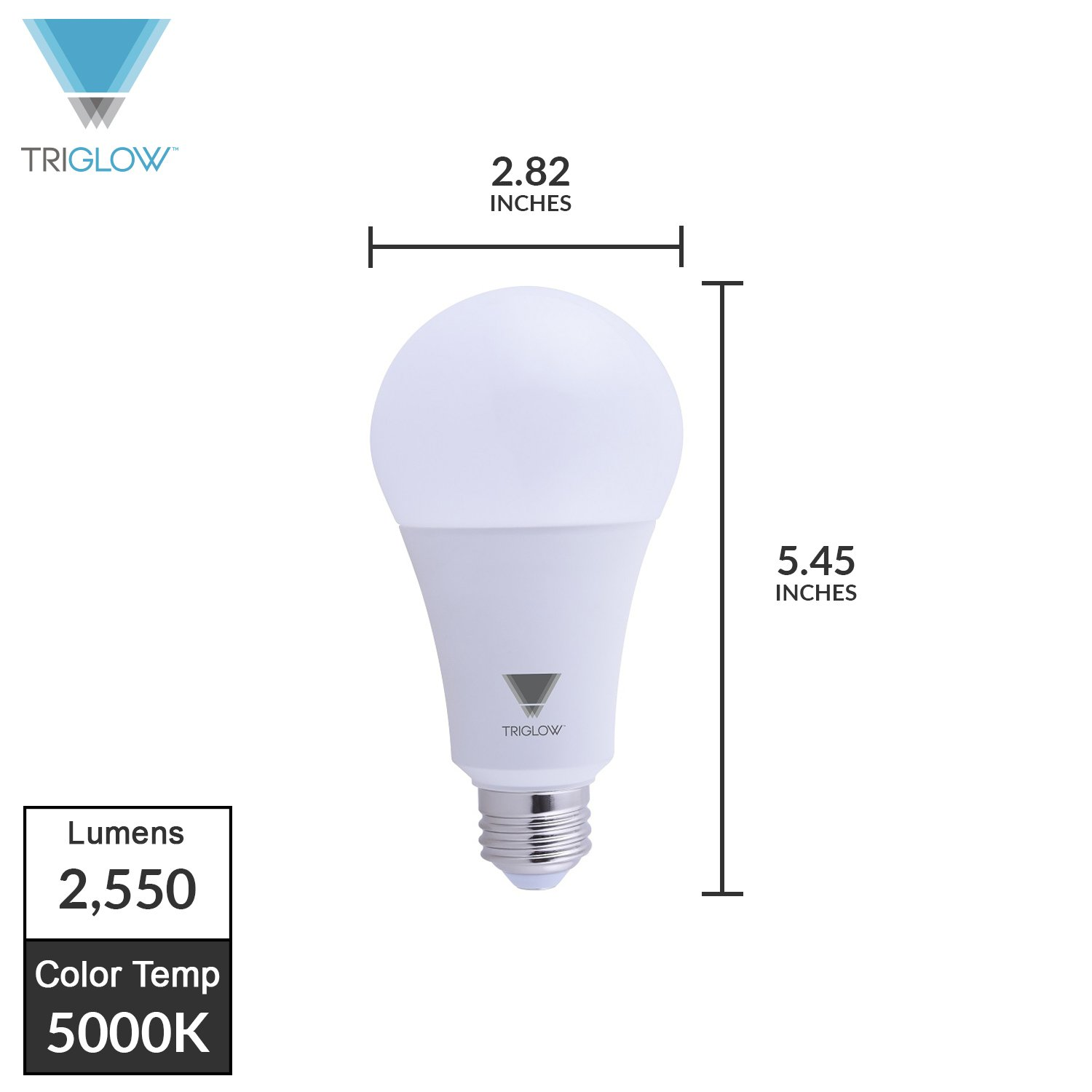 TriGlow T95441-4 (4-Pack) 22-Watt (150/200 Watt Equivalent) LED A21 Bulb, DIMMABLE 3000K (Soft White Color) 2550 Lumens, UL Listed - - Amazon.com