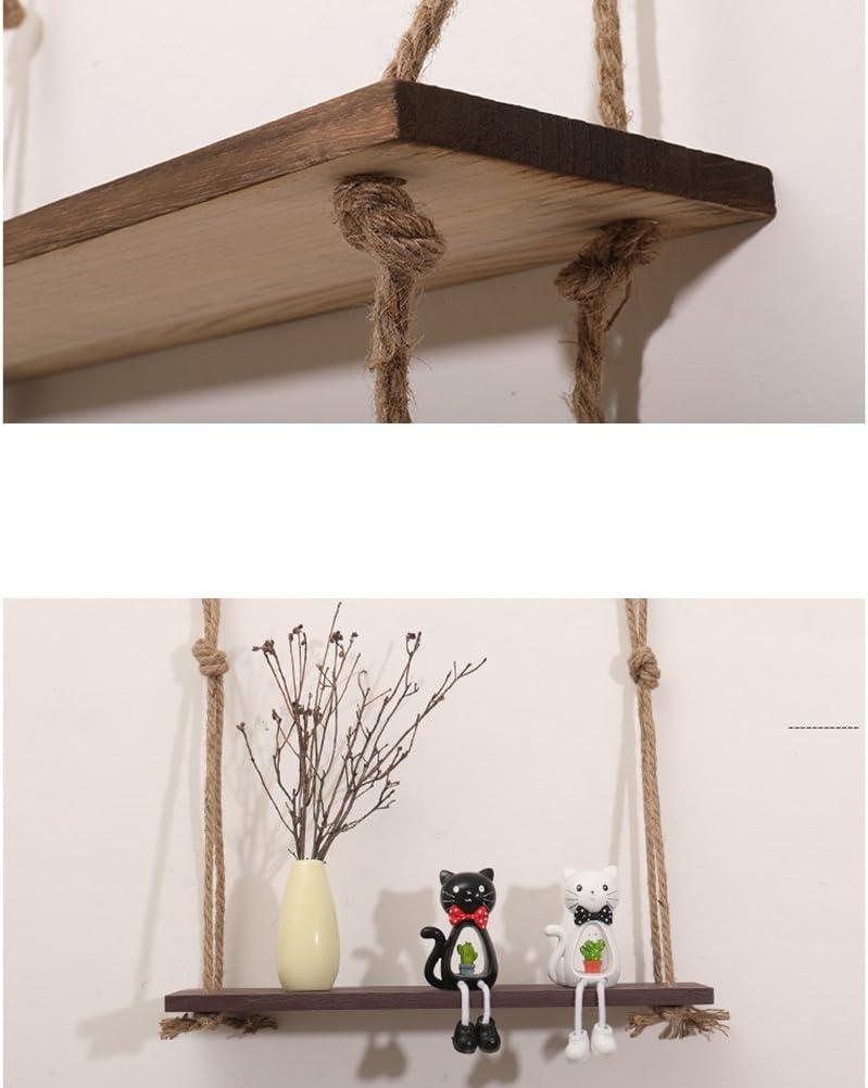 VORCOOL Estante de Madera con Cuerda 452097/Flotante estanter/ías para Maceta Fotos Libros Oscuro marr/ón