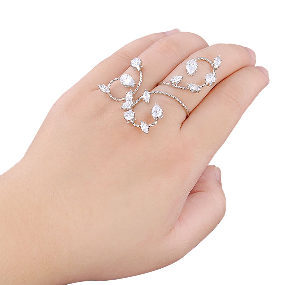 dnswez Adjustable CZ Cubic Zirconia Cluster 2 Finger Ring Twisted Vine Style Knuckle Rings for Women