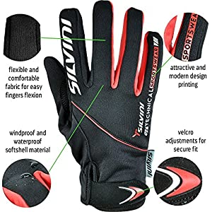 NOVELTY PREMIUM Winter Gloves For Cycling & Mountain Bike ORTLES / Mens Cold Weather Softshell Gloves, Anti-Slip Grip, Gel Padding – Windproof & Water Resistant / Black-Red - size L