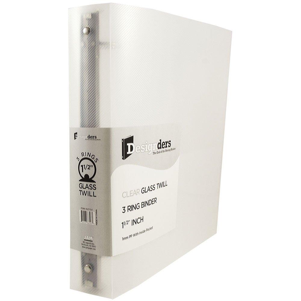 JAM Paper Plastic 3 Ring Binder- 1.5'' - Clear - 108 per Pack