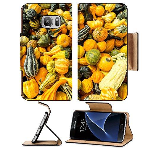 Liili Premium Samsung Galaxy S7 Flip Pu Leather Wallet Case a lot of colorful ornamental squash Image ID 22967045