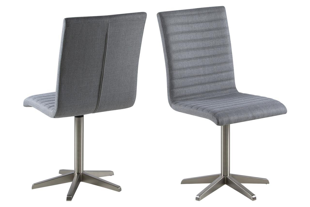 8 x Esszimmerstuhl Grau Stoff mit 5 Fuß Gestell aus Nickel Moderner Stuhl Konferenzstuhl Bistrostuhl (6er)