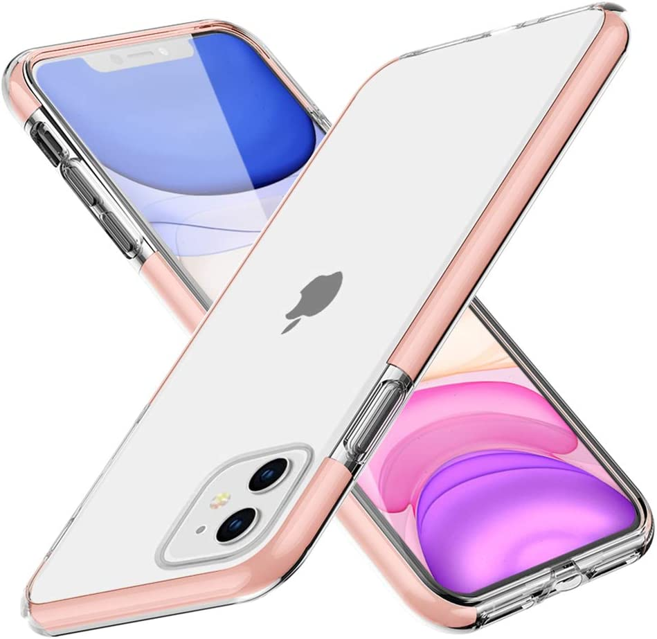 iPhone 11 Case, FGA Clear Transparent Back Silicone Soft TPU Rubber Bumper Shockproof Anti-Scratch Protection Skin Cover for Apple iPhone 11 6.1inch (2019) (Pink)