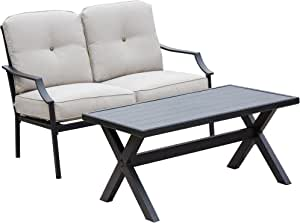 LOKATSE HOME Outdoor Loveseat and Coffee Table Metal Conversation Set Patio Furniture with Cushions for Poolside Backyard Lawn, Beige