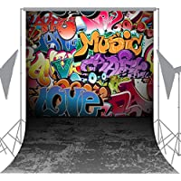 OUYIDA 6X9FT Seamless Wall Graffiti Style Pictorial Cloth Photography Background Computer-Printed Vinyl Backdrop TG01