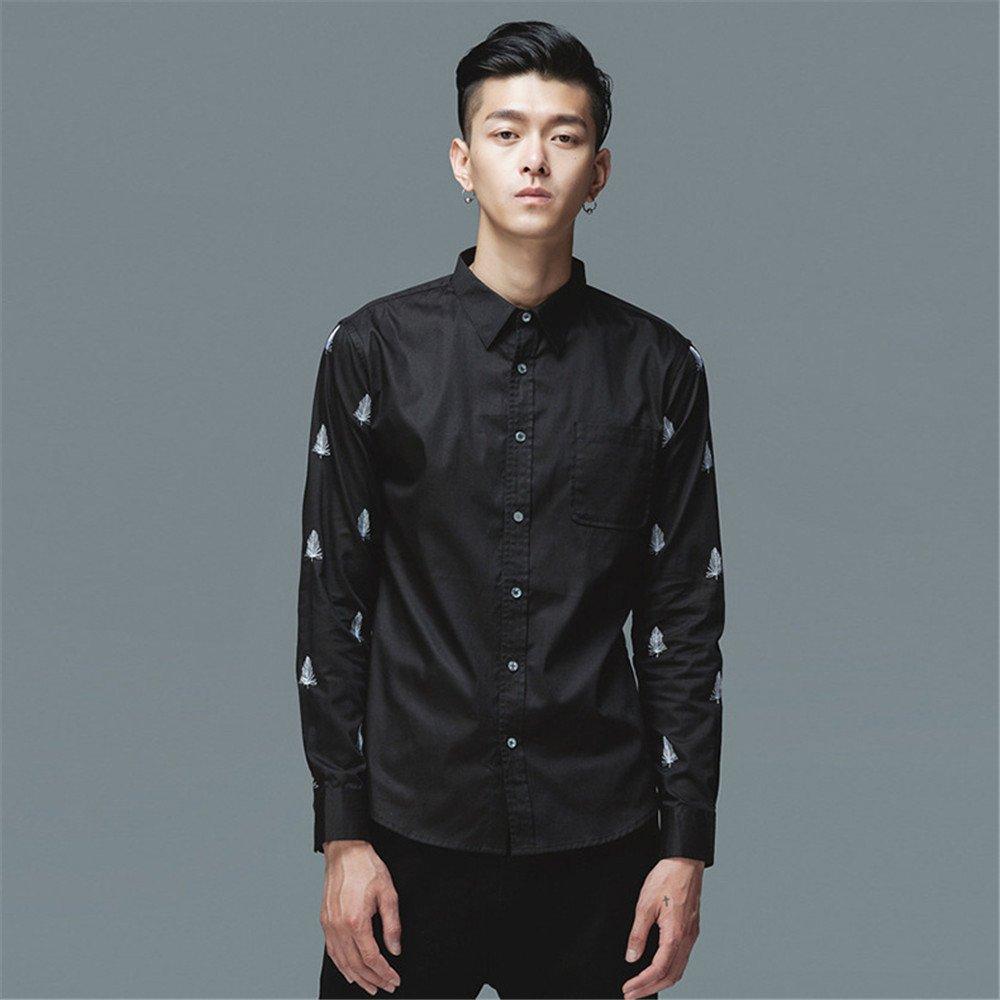 Lixus männer - Mode langärmliges Shirt Federn Mode männer langärmliges Hemd,schwarz,s