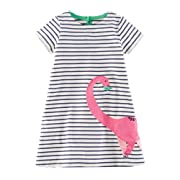 Baby Girls Dress Crew-neck Cotton Cartoon Kids Summer Dress (4T, Pink Dinosaur)