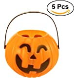 Tinksky Pumpkin Candy Holder Trick-or-treat Halloween Candy Bucket Prank Tool without Light Halloween Decorations - Size M 5pcs (Random Type)