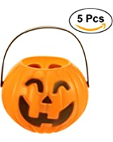 Tinksky Pumpkin Candy Holder Trick-or-treat Halloween Candy Bucket Prank Tool without Light 5pcs - Size S(Random Type)