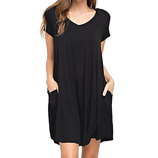 e3274b3b79 Women Dress Summer Casual Solid Simple with-Pocket Loose V-Neck Mini Dress (