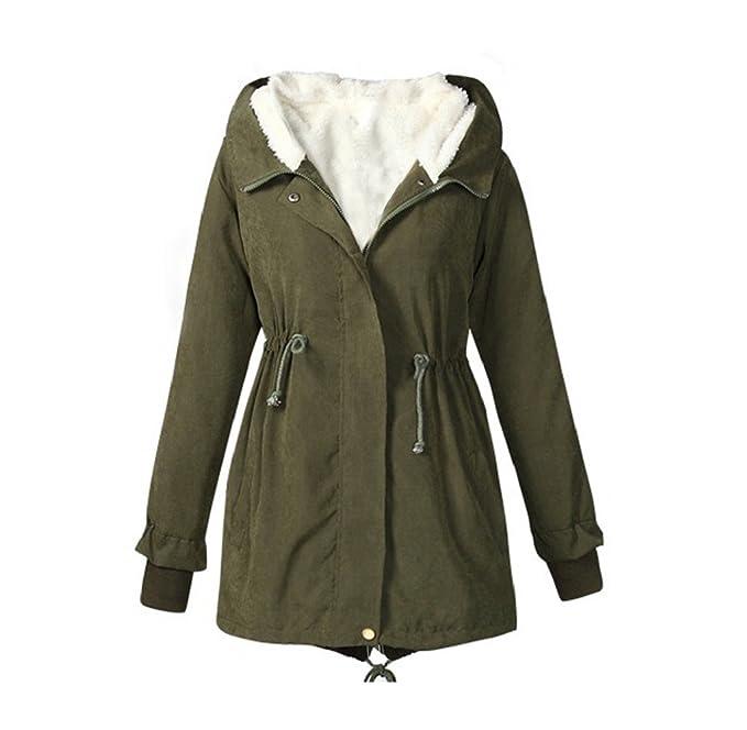 9432204c577d6 Tongshi Damas con capucha Parka polar TopWinter caliente larga mujer  chaqueta abrigo (XL