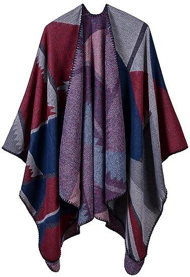 ec4dc8b27b0 Mochoose Poncho et Cape Tricot Châle Plaid Écharpe Couverture Wrap Tartan  Chaude Hiver pour Femme(