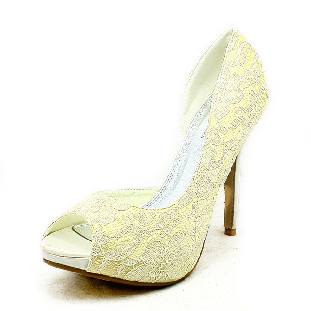 Elfenbeinfarben mit Spitzenbesatz Spitzenbesatz Spitzenbesatz offenen Seite und high heel, Schuhe 77218f