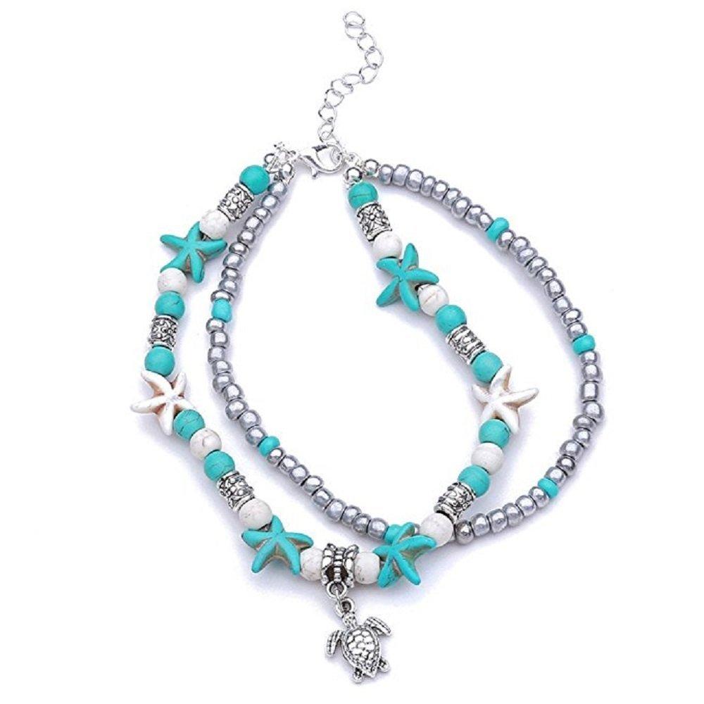 CHOROY Bohemian Summer Beach Anklet Tortoise Beads Pendant Beach Jewelry Hawaiian Sea Bracelet For Women