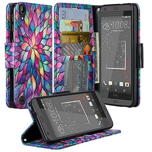 HTC Desire 555 Case, HTC 530 Desire Case, HTC Desire 550 Case, Wrist Strap Flip Folio [Kickstand Feature] Pu Leather Wallet Case with ID&Credit Card Slot For HTC Desire 555/Desire 630 - Rainbow Flower