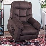 Harper&Bright Designs (Espresso Fabric Power Lift Recliner Chair Soft Living Room Sofa