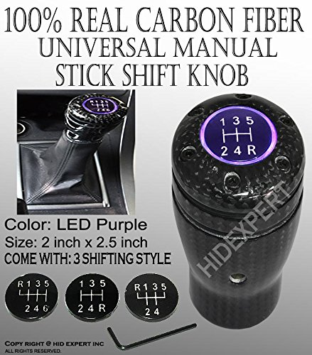 ICBEAMER Racing Style 100% Real Black Carbon Fiber Stick Shift Manual Transmission Shift KNOB with Purple LED Light