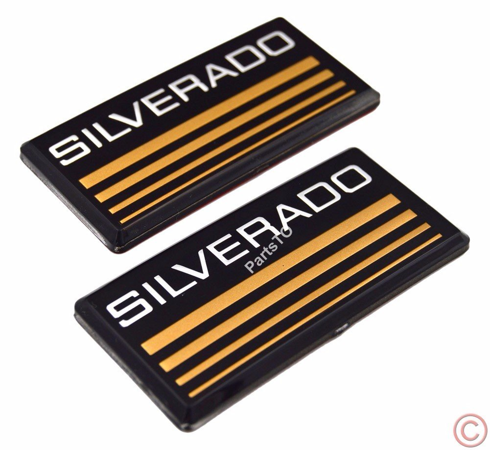 2x PartsTo Cab Emblem Badge Side Roof Pillar Decal Plate for Chevy Silverado 88-98 90 91 Suburban Tahoe C//K Series Blazer Parsto