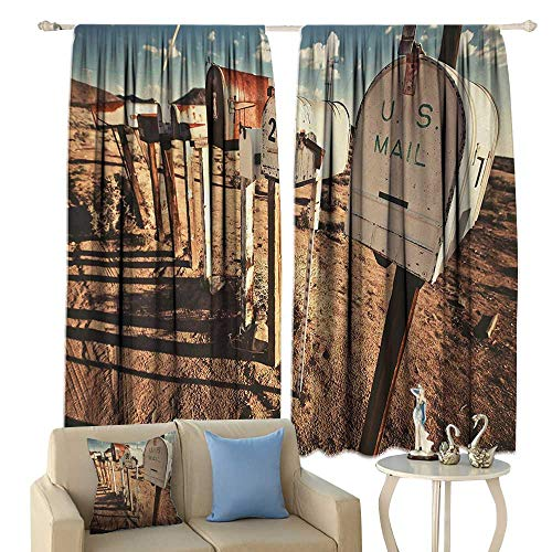 (HoBeauty United States, Window Curtain Drape, Old Mailboxes in West America Rural Rusty Landscape Grunge Countryside, Customized Curtains,(W63 x L45 Inch, Brown Blue White)