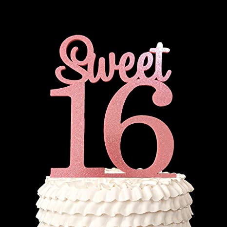 c3c21136af619 Amazon.com  Happy 16th Birthday Acrylic Cake Topper Sweet 16 (Glitter  Pink)  Kitchen   Dining