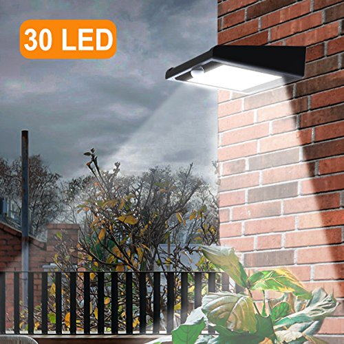30 LED Solar Lights Outdoor, Super Bright Iextreme Solar Motion Sensor Lights, Wireless Waterproof Security Lights with 120 Degree Wide Angle Illumination for Wall, Driveway, Patio, Yard, Garden