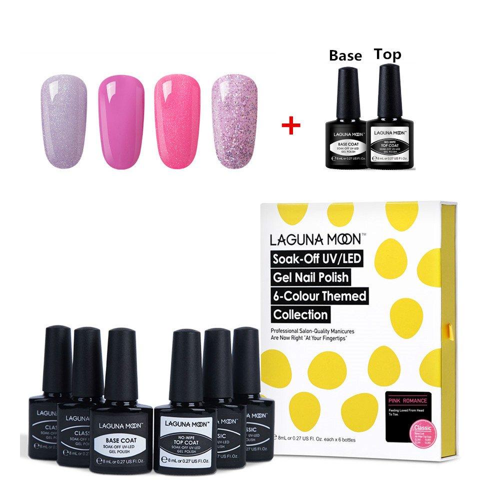 Lagunamoon Gel Nail Polish Set Base Coat and No Wipe Top Coat Gel Polish Pink Gel Nail Colours 6pcs N613869736494