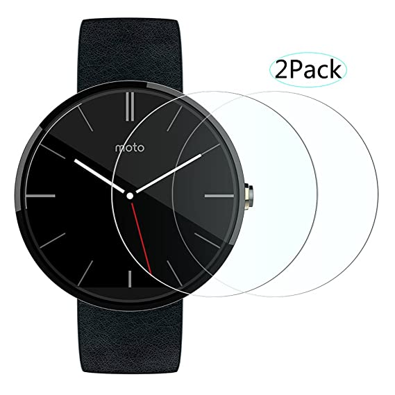 Motorola Moto 360 Screen Protector [Tempered Glass] with Unique [Oleophobic Coating Technology] and [Scratch Resist], 9H Hardness and Bubble Free ...