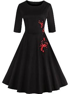 Babyonline Floral Vintage Women Dresses Half Sleeve 1950s Rockabilly Party  Gown b9cab8c65