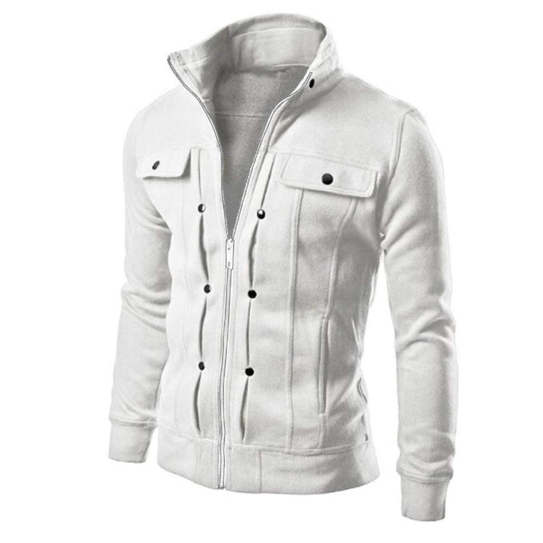 Thadensama New Fashion Autumn Winter Men Jackets Coat Stand Collar Slim Designed Lapel Zipper Long Sleeve Coats Jacket Men Outerwear White Xl
