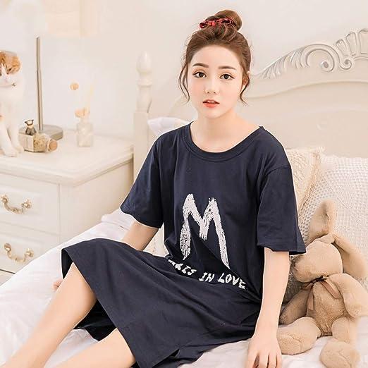 HIUGHJ Pijamas Mujer camisón de algodón Camisa de Dormir Ropa de Dormir de Manga Corta Ropa de Dormir Pijama Mujer camisón de niña en Verano: Amazon.es: Hogar