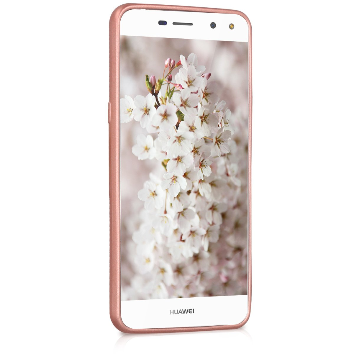 kwmobile TPU Silicone Case for Huawei Y6 (2017) - Soft Flexible Shock Absorbent Protective Phone Cover - Metallic Rose Gold