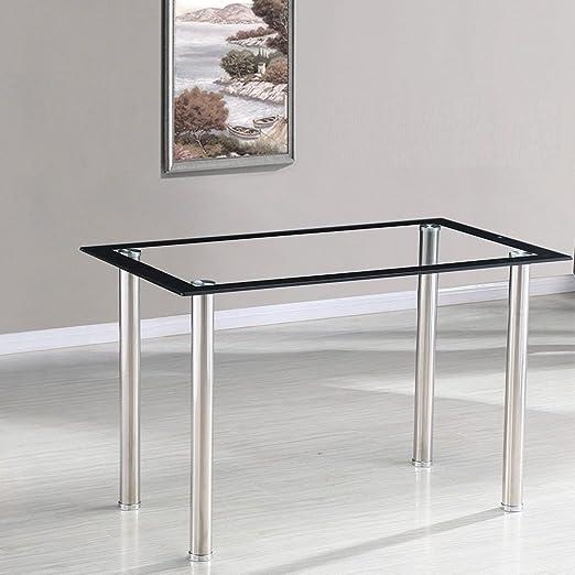 Minifair – Mesa de comedor rectangular de cristal templado de 10 ...