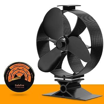 [ 2 años de garantía ] Eco Ventilador de estufa Accionado por calor gran flujo de aire accesorios estufa leña ventilador para estufa + Termómetro de estufa ...