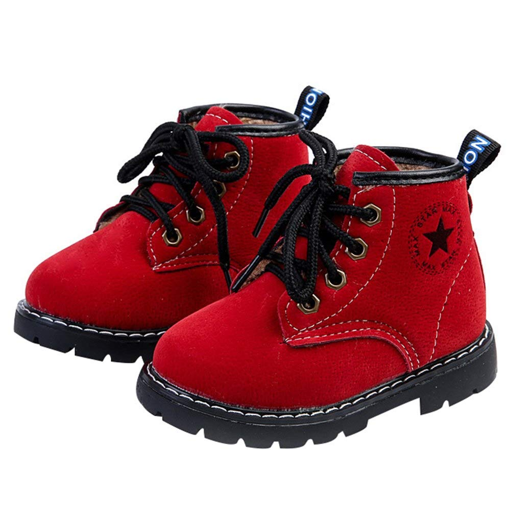 Infant Boys Girls Classic Waterproof Outdoor Shoes Insulated Winter Snowboot Suede Leather Lace-up Martin Boots