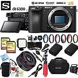 Sony ILCE-6300 a6300 4K Mirrorless Camera Body w/APS-C Sensor + 35mm f/2.8 Rokinon Prime Lens Bundle