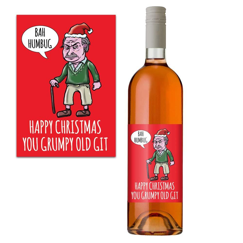 Funny Rude Christmas Wine Bottle Label for Him Men Rude Grumpy Old Git Design Perfect Secret Santa Xmas Gift Boyfriend Husband Colleague