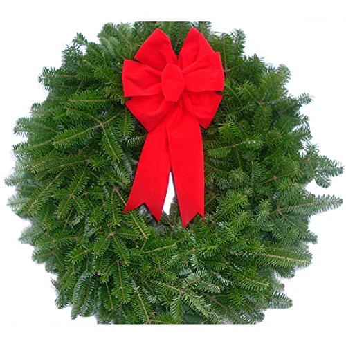 Fresh Maine Balsam Red Velvet Bows 16-inch Wreaths (Set of 10)