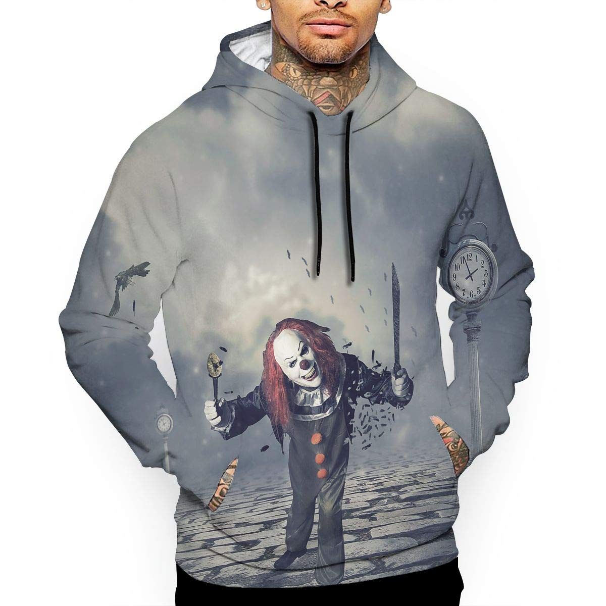 YUANSHAN Evil Clowns Mans Long Sleeve Hoodie Casual Pocket Hooded Sweatshirt