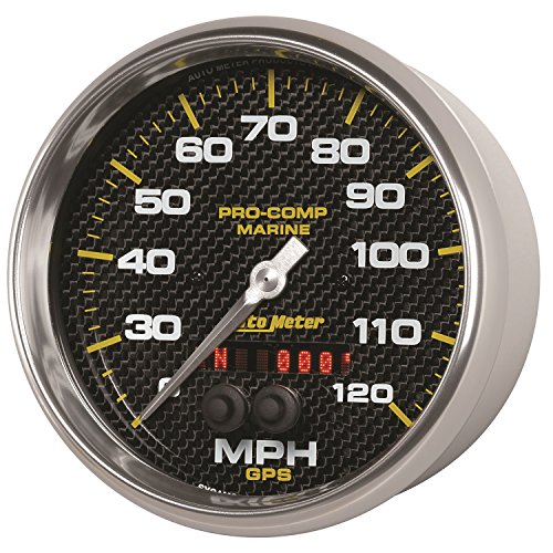 AutoMeter 200646-40 Marine GPS Speedometer 5 in. Carbon Fiber Dial Face Silver Pointer White Incandescent Lighting Digital Stepper Motor 0-120 MPH Marine GPS - Mph Gps 120 Speedometer