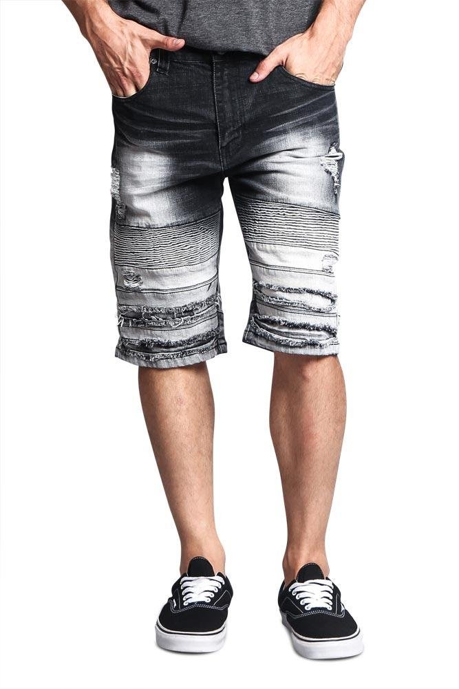 Victorious G-Style USA Ombre Gradient Wash Ribbed Biker Distressed Denim Jean Shorts DS2011 - Black - 36 - FF1D