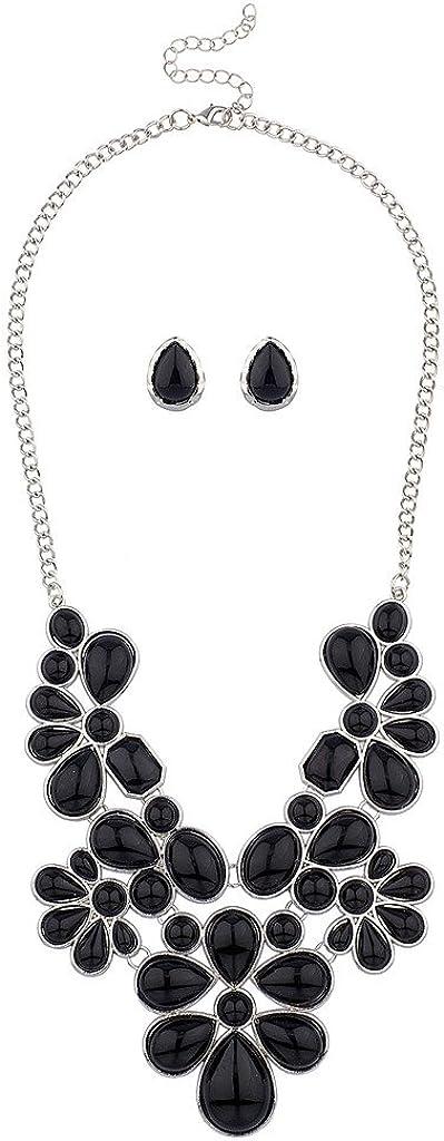 Lux Accessories collar llamativo babero tribal para mujer floral con piedras + set de pendientes