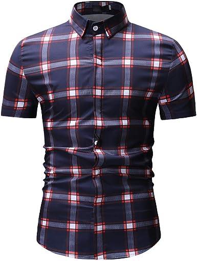 SoonerQuicker Camisas Hombre Manga Mens Primavera Invierno Moda Impreso Casual Manga Corta Camisas Delgadas Tops Blusa - 2019 última Camisa Casual cómoda: Amazon.es: Ropa y accesorios