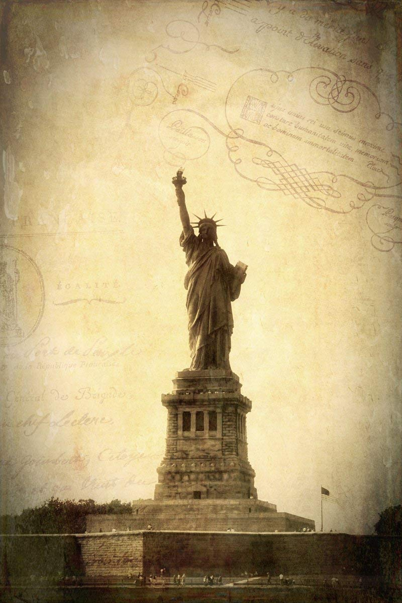 Amazon.com: Old NYC Wall Art Vintage Statue of Liberty Canvas or ...
