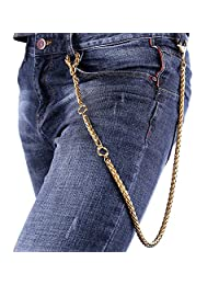 Wallet Chain Men Twisted Rope Chain Stainless Steel Biker Key Jeans Purse Chain