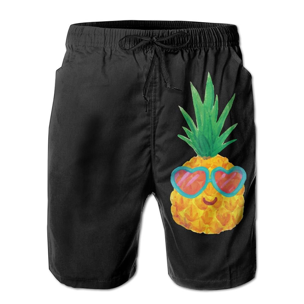 ZAPAGE Boy's Quick Dry Board Shorts Funny Pineapple With Glasses Skateboard Short With Pockets